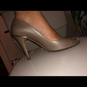 Chanel Taupe Peep Toe Pumps- Pearlesque